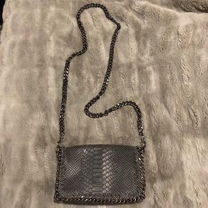 Black Snakeskin Chain crossbody bag/ clutch